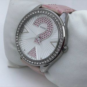 Guess Women Watch Pink Genuine Leather Band 20 Cel